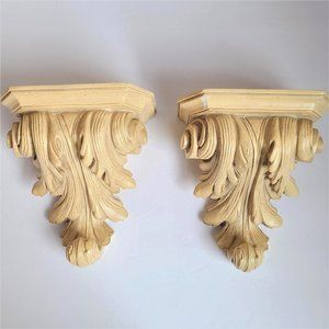 Vintage Pair of Plaster Detailed Beige Shelves.